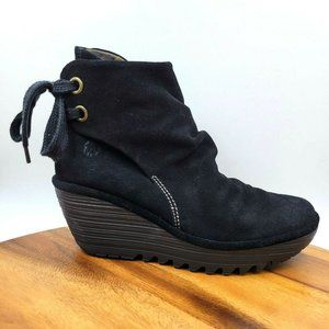 FLY London Yama Black Suede Wedge Heel Ankle Boots
